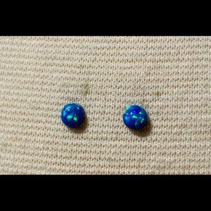 Tiny 4mm blue opal stud earrings